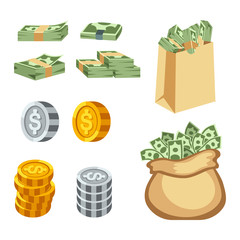 Money symbols vector icons