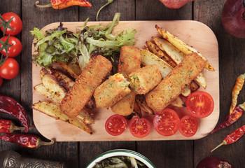 Breaded veggie sticks