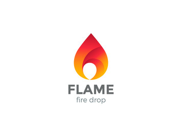 Fire Flame Logo design vector droplet. Red drop Logotype icon