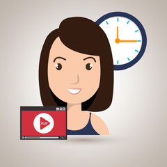 woman cartoon video record clock vector illustration eps 10