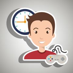 man cartoon control game clock vector illustration eps 10