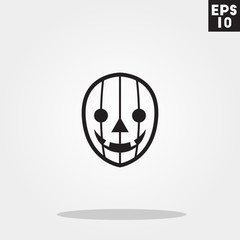 Jack o lantern pumpkin monster face for halloween icon in trendy flat style isolated on grey background. Id card symbol for your design, logo, UI. Vector illustration, EPS10.