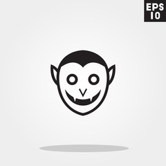 Vampire dracula monster face for halloween icon in trendy flat style isolated on grey background. Id card symbol for your design, logo, UI. Vector illustration, EPS10.