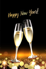 Two glasses of champagne against bokeh lights background. Christmas and New Year celebation card. Vector Illustration