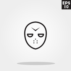 Hokey mask serial killer monster face for halloween icon in trendy flat style isolated on grey background. Id card symbol for your design, logo, UI. Vector illustration, EPS10.