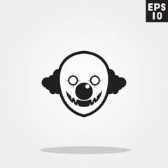 Clown serial killer monster face for halloween icon in trendy flat style isolated on grey background. Id card symbol for your design, logo, UI. Vector illustration, EPS10.