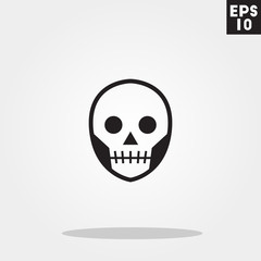 Skull monster face for halloween icon in trendy flat style isolated on grey background. Id card symbol for your design, logo, UI. Vector illustration, EPS10.