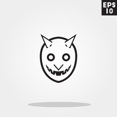 Devil monster face for halloween icon in trendy flat style isolated on grey background. Id card symbol for your design, logo, UI. Vector illustration, EPS10.