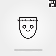 Frankenstein monster face for halloween icon in trendy flat style isolated on grey background. Id card symbol for your design, logo, UI. Vector illustration, EPS10.
