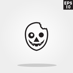 Zombie monster face for halloween icon in trendy flat style isolated on grey background. Id card symbol for your design, logo, UI. Vector illustration, EPS10.
