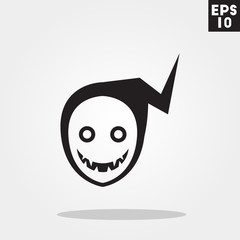 Reaper monster face for halloween icon in trendy flat style isolated on grey background. Id card symbol for your design, logo, UI. Vector illustration, EPS10.