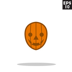 Jack o lantern pumpkin monster face for halloween icon in trendy flat style isolated on grey background. Id card symbol for your design, logo, UI. Vector illustration, EPS10. Colored.