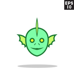 Swamp fishman monster face for halloween icon in trendy flat style isolated on grey background. Id card symbol for your design, logo, UI. Vector illustration, EPS10. Colored.