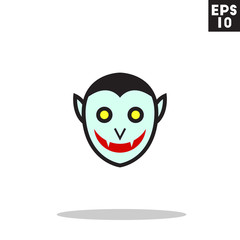Vampire dracula monster face for halloween icon in trendy flat style isolated on grey background. Id card symbol for your design, logo, UI. Vector illustration, EPS10. Colored.