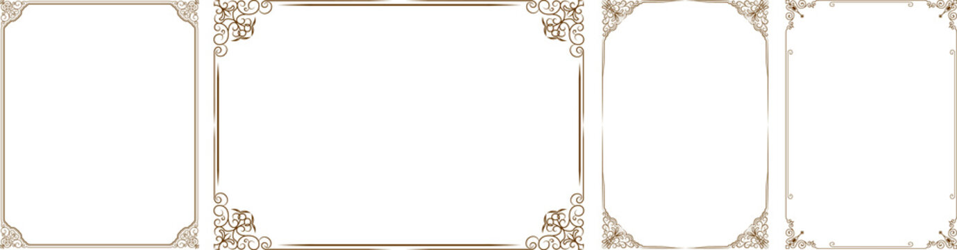 Vector set of gold decorative horizontal floral elements, corners, borders, frame