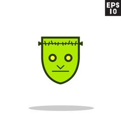 Frankenstein monster face for halloween icon in trendy flat style isolated on grey background. Id card symbol for your design, logo, UI. Vector illustration, EPS10. Colored.