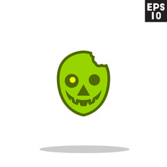 Zombie monster face for halloween icon in trendy flat style isolated on grey background. Id card symbol for your design, logo, UI. Vector illustration, EPS10. Colored.