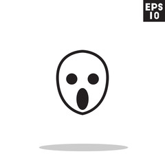 Ghost monster face for halloween icon in trendy flat style isolated on grey background. Id card symbol for your design, logo, UI. Vector illustration, EPS10. Colored.