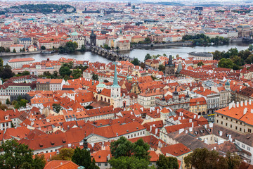 Rooftops in Prague's Old Town and Charles Bridge