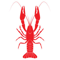 Red crayfish vector flat illustration isolated on white backgrou