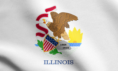 Flag of Illinois waving with fabric texture