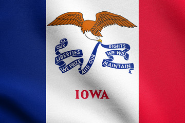 Flag of Iowa waving with fabric texture