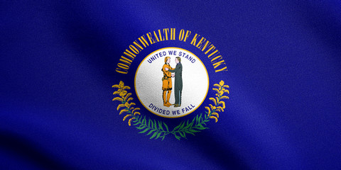 Flag of Kentucky waving with fabric texture