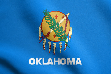 Flag of Oklahoma waving with fabric texture