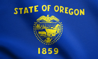 Flag of Oregon waving with fabric texture