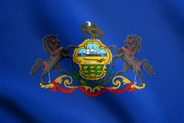Flag of Pennsylvania waving with fabric texture