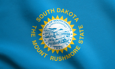 Flag of South Dakota waving with fabric texture