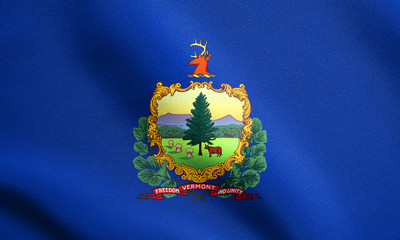 Flag of Vermont waving with fabric texture