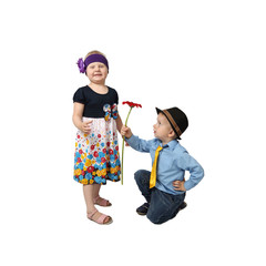 Boy in country style festive clothes kneeling gifts flower to girl with proud facial expression isolated on white background in square