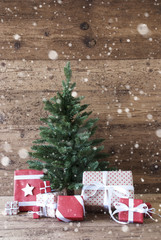 Christmas Tree With Gifts, Vertical Image And Snowflakes
