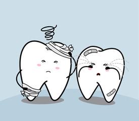 cute cartoon sad tooth