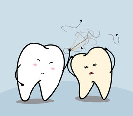 cute cartoon tooth and yellow tooth