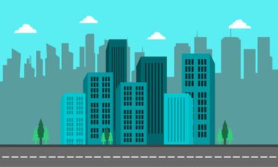 Photo sur Plexiglas Turquoise Landscape of city cuilding and street vector