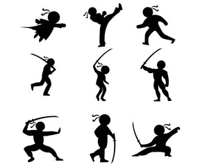 silhouette icon ninja people