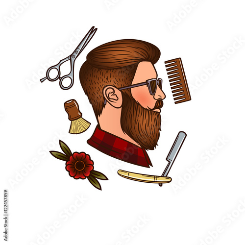 e0c015e9468 Vector man's face in profile in hipster style. Men's haircut. Accessories  for men haircut. Men's hair salon. Hipster, comb, razor, scissors,  flower.Logo for ...