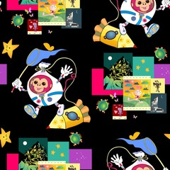 Fantastic print for children with cute monkey astronaut, spacecraft and funny pictures with aliens. Bright seamless vector background. It can be used for bed linen, paper, wallpaper, carpet, websites.