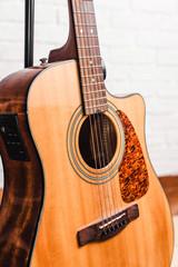 close-up acoustic guitar
