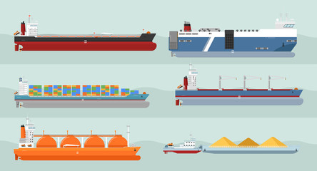 Set of cargo ships vectors. Flat design. Ferry, container, freighter, bulk, gas carriers, tugboat ships illustrations. Transatlantic carriage by merchant navy. For transport company ad, infographics