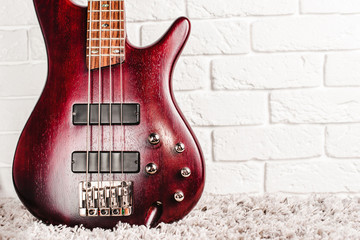 Rosewood bass electric guitar closeup