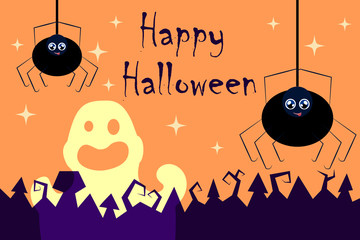 Halloween vector illustration with spiders and ghost. Happy Halloween vector
