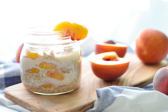 overnight steel cut oats with peaches and almond milk