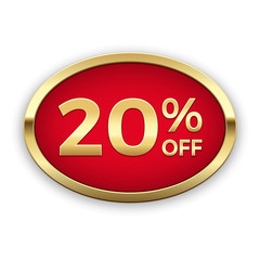 20% off golden badge, vector