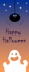 Halloween image with ghost and spider. Vertical vector illustration for banner or bookmark