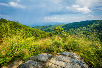 View of the Blue Ridge Mountains from Skyline Drive in Shenandoa