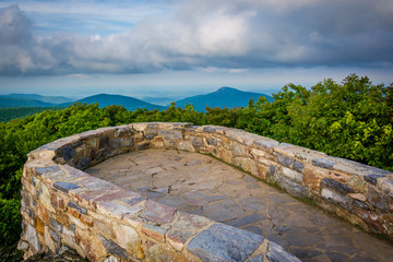 View of the Blue Ridge Mountains from the stone observation deck