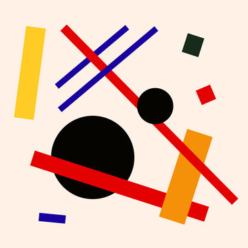 Abstract suprematism composition, square flat illustration